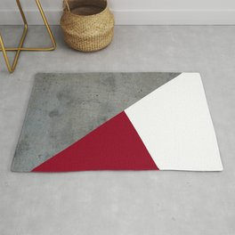 Concrete Burgundy Red White Rug
