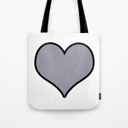 Pantone Lilac Gray Heart Shape with Black Border Digital Illustration, Minimal Art Tote Bag