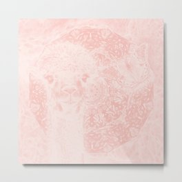 Ghostly alpaca and butterfly with mandala in Rose Quartz Metal Print
