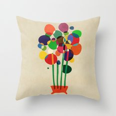 Happy flowers in the vase Throw Pillow