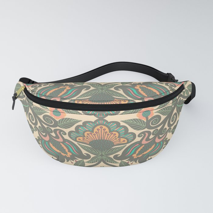Green Vines Folk Art Flowers Pattern Fanny Pack