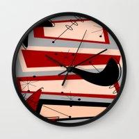 mid century modern Wall Clocks featuring Mid-Century Modern Boomerangs by Kippygirl