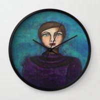introvert Wall Clocks featuring Introvert by Leanne Schuetz Mixed Media Artist