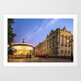 Royal Palace and carousel in Oriente Square, Madrid Art Print