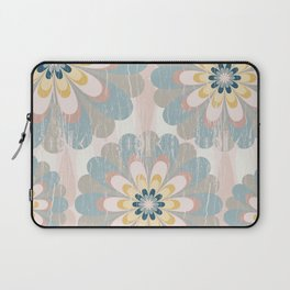Distressed Floral Pattern in Muted Blush Pink Teal Yellow Laptop Sleeve