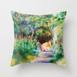 Pierre-Auguste Renoir - Landscape With Woman Gardening - Digital Remastered Edition Throw Pillow