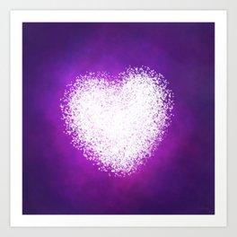 Cosmic Heart Purple Space Night Sky with Stars Art Print
