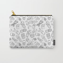 Cacti. Black and white doodle sketch pattern. Carry-All Pouch