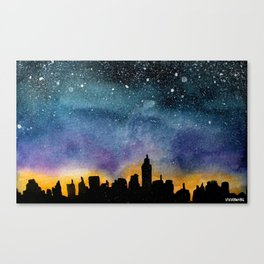 New York City Skyline Starry Night Canvas Print