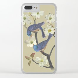 Bluebirds in Dogwood Tree Clear iPhone Case