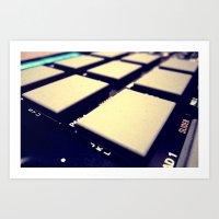 drum Art Prints featuring Drum Machine by Derek Fleener