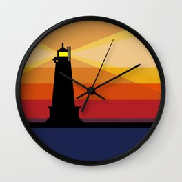 Lighthouse Silhouette At Sunset in Michigan Wall Clock