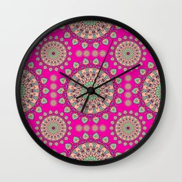 Ethnic Bohemian Pattern- Hot Pink and Green Wall Clock