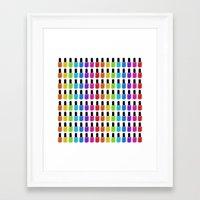 nail polish Framed Art Prints featuring Nail Polish Rainbow by Tikwid