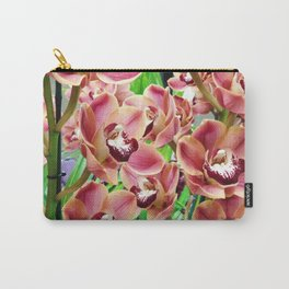 Elegant organic pink burgundy botanical orchids flowers Carry-All Pouch
