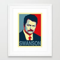 parks and rec Framed Art Prints featuring Ron Swanson (Parks & Rec) 'Hope' Poster Parody by posteritty