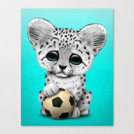 Snow leopard Cub With Football Soccer Ball Canvas Print