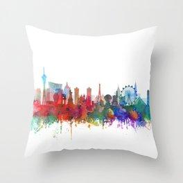 Las Vegas skyline Watercolor by Zouzounio Art Throw Pillow