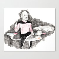 picard Canvas Prints featuring Picard by withapencilinhand