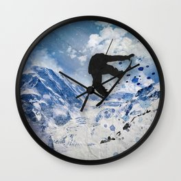 Snowboarder In Flight Wall Clock