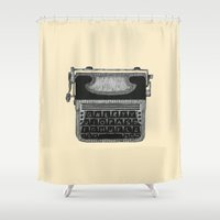 typewriter Shower Curtains featuring Typewriter by Mr. Gentle
