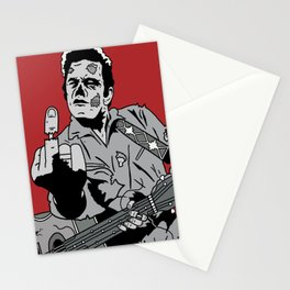 Johnny Cash Zombie Portrait Giving the Finger Print Stationery Cards