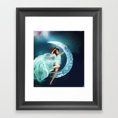Sinking into the Moon Framed Art Print