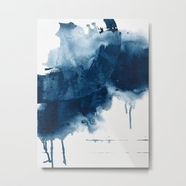 Where does the dance begin? A minimal abstract acrylic painting in blue and white by Alyssa Hamilton Metal Print
