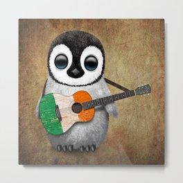 Baby Penguin Playing Irish Flag Guitar Metal Print