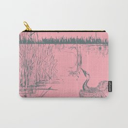 Oriental Exotic Heron & Birds on a Lake Print - Pink Carry-All Pouch