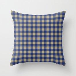 Plaid (navy blue/tan) Throw Pillow