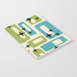 Retro Mid Century Modern Abstract Pattern 225 Blue and Green Notebook