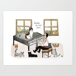 Freddie and his Cats Art Print