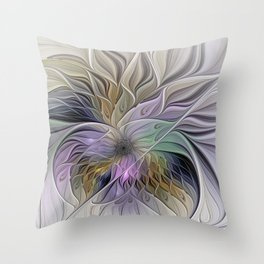 Abstract Flower, Colorful Floral Fractal Art Throw Pillow