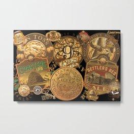 Coin Toss Brewing Labels no bg Metal Print