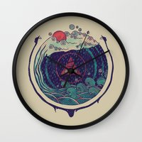 water Wall Clocks featuring Water by Hector Mansilla