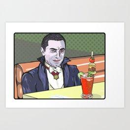 Dracula enjoying a bloody mary at Applebee's. Art Print
