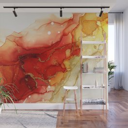 Golden Flames Abstract Ink - Part 2 Wall Mural