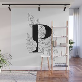 Monogram Letter P with Rose Line Art  Wall Mural