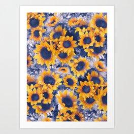 Sunflowers Blue Art Print