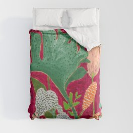 Fuchsia Pink Floral Jungle Painting Comforters