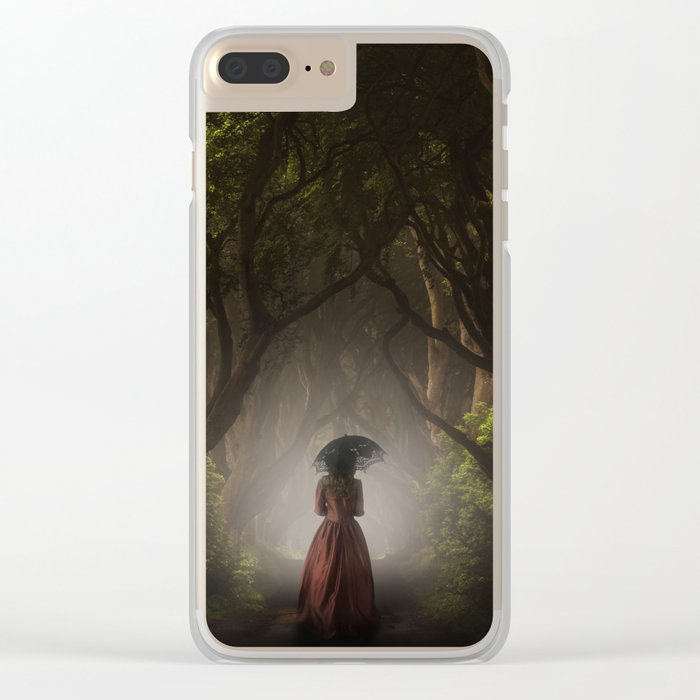 Satin red dress Clear iPhone Case