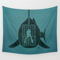 jaws Wall Tapestries featuring Steven Spielberg's JAWS by Alain Bossuyt