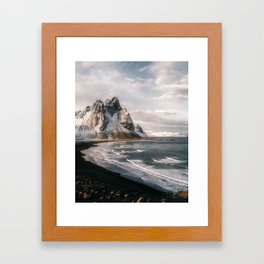 Stokksnes Icelandic Mountain Beach Sunset - Landscape Photography Framed Art Print