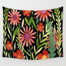 Flower Burst Orange and Black, floral pattern design Wall Tapestry