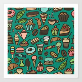 Coffee and pastry  Art Print