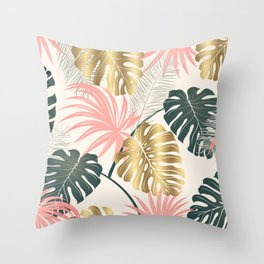 Tropical Print with Gold Throw Pillow
