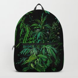 Summer Greenery, Green & Black, Floral Painting Backpack