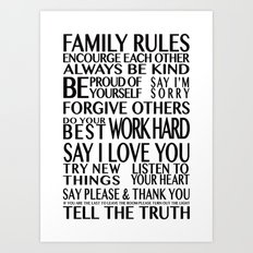 Family Rules 2 Art Print
