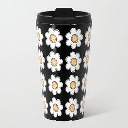 Retro Doodle Mini Flower - Black and Yellow Travel Mug